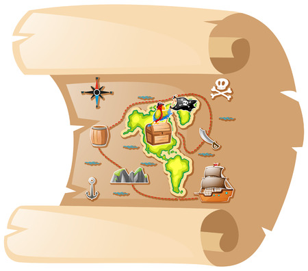 pape: Treasure map on brown paper illustration