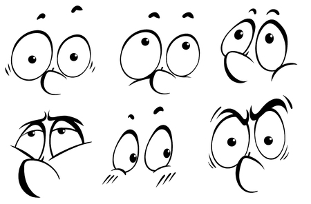 eyes looking down: Facial expression doodle in black outline illustration