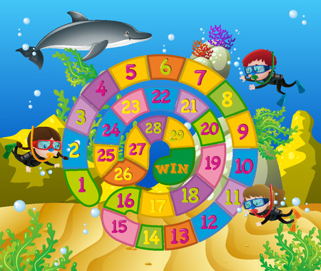 Boardgame template with kids underwater illustration
