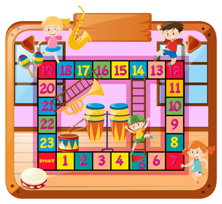 numbers clipart: Boardgame template with kids in music class illustration