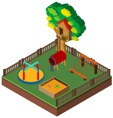 3D design for playground with treehouse illustration