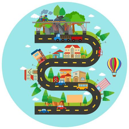 Illustration de route et bâtiments sinueuse infographique Banque d'images - 70917921
