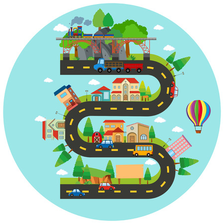 Infographic winding road and buildings illustration Vectores