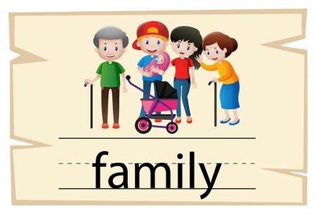 Flashcard desing for word family illustration
