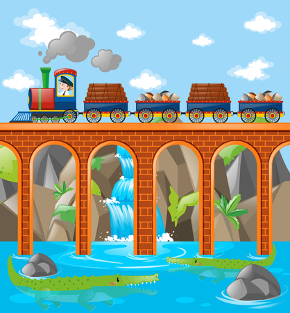 Train loaded with rocks and woods over the bridge illustration