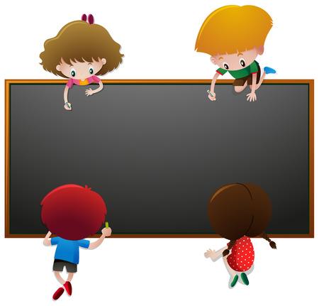 Children writing on blackboard illustration Illustration