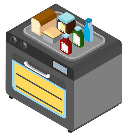 microondas: 3D design for microwave oven and food illustration