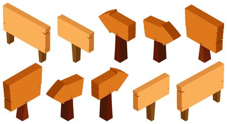 3D design for wooden signs illustration Illustration