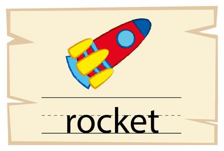Flashcard design for word rocket illustration