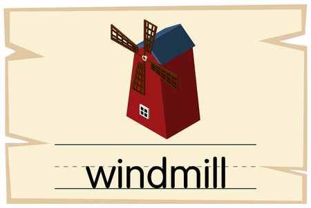 Wordcard design for word windmill illustration