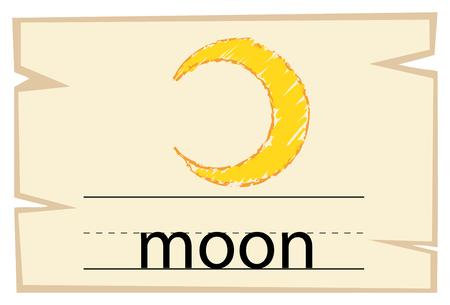 Flashcard design for word moon illustration