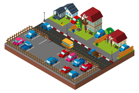 view from above: 3D design for city scene with houses and cars illustration
