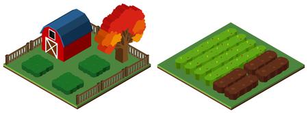 3D design for farmyard and barn illustration