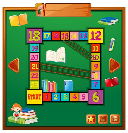 numbers clipart: Game template with school items illustration Illustration