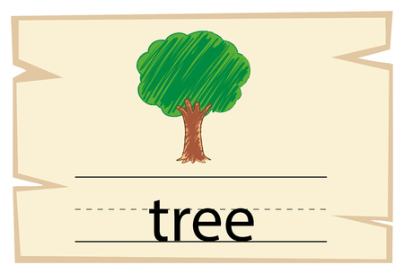 Flashcard for word tree illustration