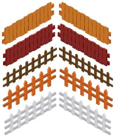 3D design for wooden fences illustration