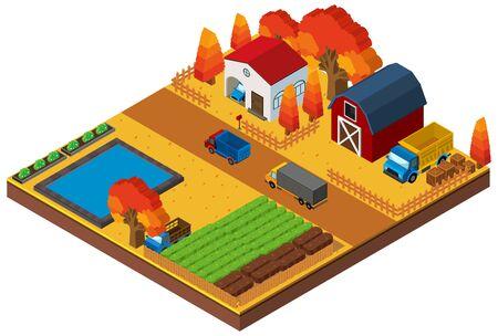 3D design for houses and farmland illustration Illustration