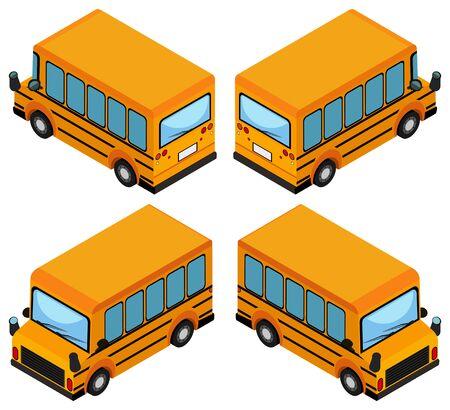 yellow schoolbus: 3D design for school bus illustration