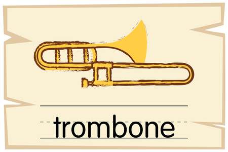 Wordcard template for trombone illustration Illustration