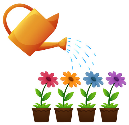 Watering can and flowers in garden illustration