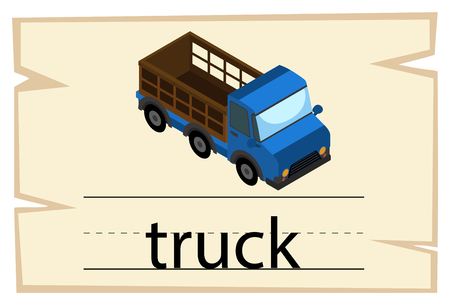 Flashcard design for word truck illustration