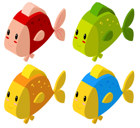 カラフルな魚の図の 3次元設計