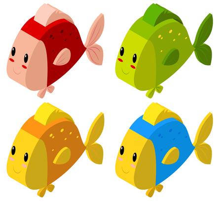 3D-Design für bunte Fische Illustration Standard-Bild - 72032863