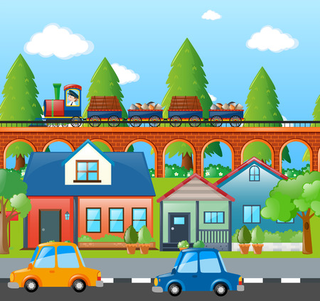 City scene with cars and train  illustration