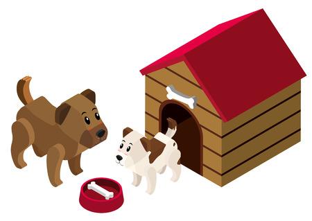 3D design for pet dogs in doghouse illustration Illustration