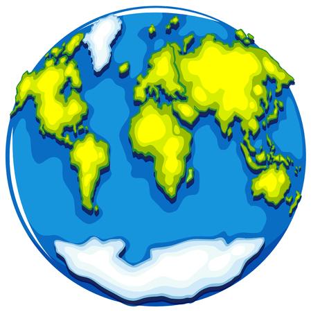 Worldmap on round format illustration