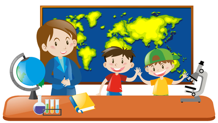 geography: Teacher and two students in geography class illustration Illustration