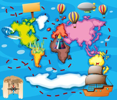 World map with different transportations illustration