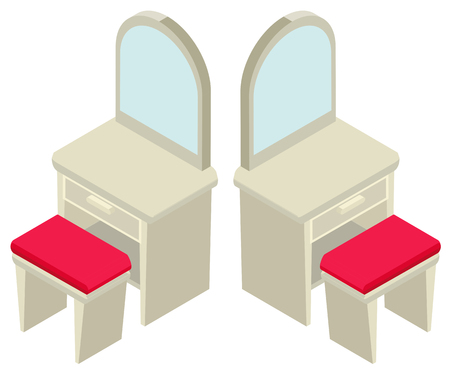 dressing: 3D design for mirror and seat illustration
