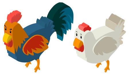 3D-Design für Henne und Hahn Illustration