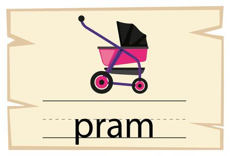 Flashcard design for word pram illustration