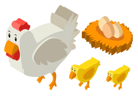 aerial animal: 3D design for chickens and eggs illustration