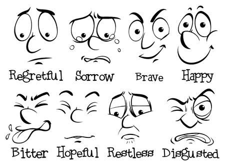 Human face with different emotion illustration Illustration