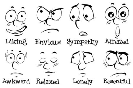 Different expressions on human face with words illustration