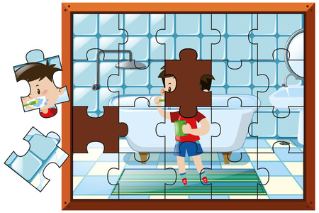 Jigsaw puzzle pieces with boy brushing teeth illustration