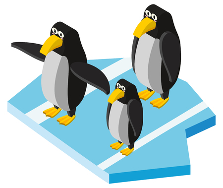 3D design for three penguins illustration