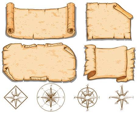 Old brown papers and compass  illustration Stok Fotoğraf - 72883244