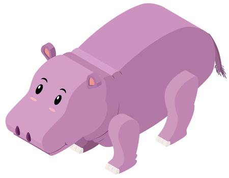 3D design for cute hippo illustration Illustration