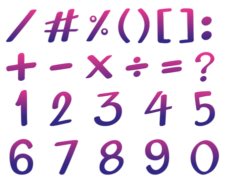 Font design for numbers in pink and purple color illustration