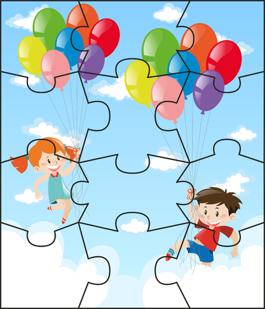Jigsaw pieces with children flying balloons illustration Illustration