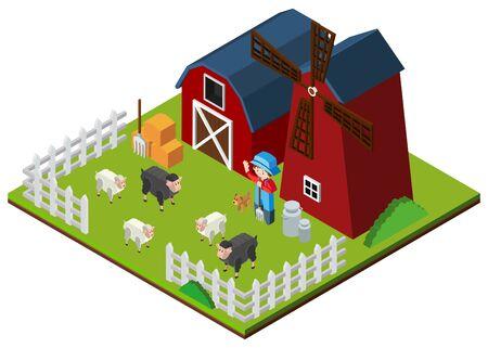 3D design for farm animals in the farm illustration