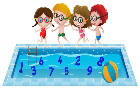 8 ball: Children in swimming suit playing with numbers in the pool illustration