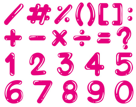 multiplication: Numbers and math signs in pink color illustration