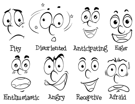 eager: Diffferent facial expressions with words illustration