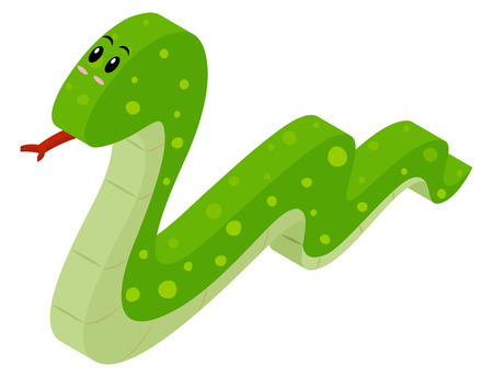 3D design for green snake illustration