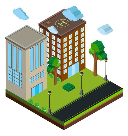 3D design for buildings along the road illustration
